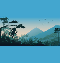 silhouette animals at the jungle vector image