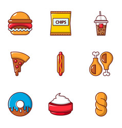 Snacks icons set flat style vector
