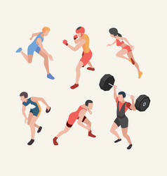 sports characters isometric olympic games players vector image