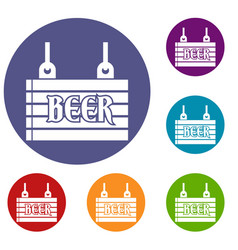 street signboard of beer icons set vector image