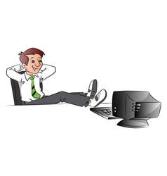 Successful businessman relaxing with legs on table vector