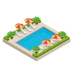 Summer travel concept Swimming pool parasol vector