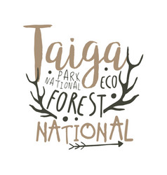 Taiga national park eco forest design template vector