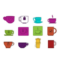 tea cup icon set color outline style vector image