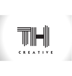 Th logo letter with black lines design line letter vector