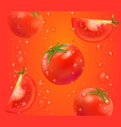 Tomato juice realistic background with bubbles vector