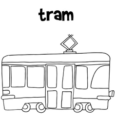 Tram art hand draw vector