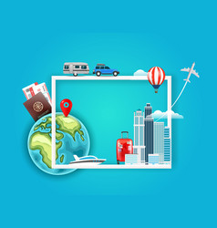 Travel around world concept with different vector