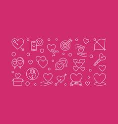 Unconditional love outline horizontal vector