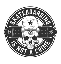 Vintage skateboarding monochrome label vector