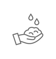 washing hand with soap hygiene line icon vector image