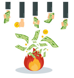 wasting money into fire vector image