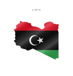 Waving flag map libya vector