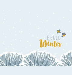 winter landscape with snow-covered trees and birds vector image