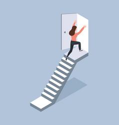 Woman walking up staircase to door isometric vector