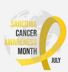 Yellow ribbon sarcoma cancer awareness month vector