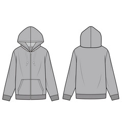 Zip-up hoodie fashion flat sketch template vector