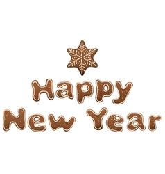 Happy new year gingerbread lettering text for vector