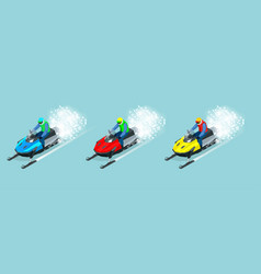 man driving sports snowmobile set isometric vector image vector image