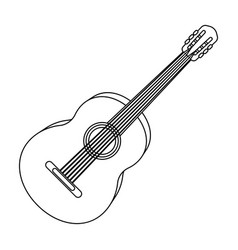 yellow guitar hippy single icon in outline style vector image