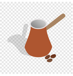 cezve for coffee and coffee beans isometric icon vector image vector image