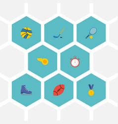 flat icons puck american football reward and vector image