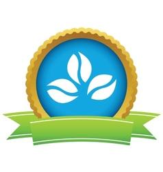 Gold coffee beans logo vector image