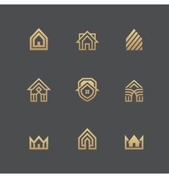 Houses logo set on black background vector