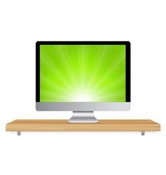 Monitor Icon Wooden Shelf vector image vector image