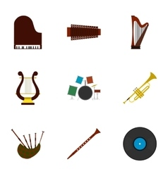 Musical tools icons set flat style vector image