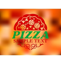 Pizza label on red colorful background vector image vector image