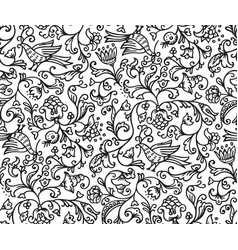 seamless floral pattern background with birds and vector image