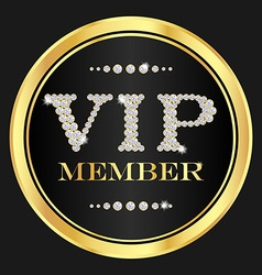 Vip member badge vip composed from small diamonds vector