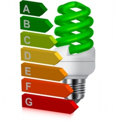 green bulb and energy classification vector image