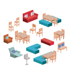 living and dining room furniture set in colorful vector image