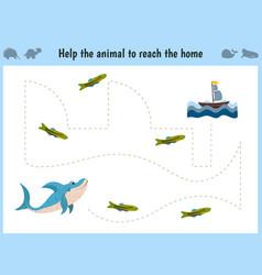 Maze game educational children cartoon game for vector