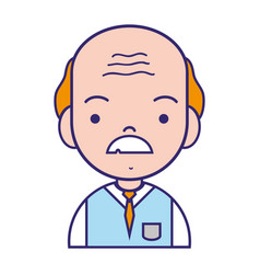 old man teacher with mustache and uniform clothes vector image vector image
