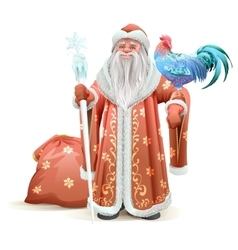Russian Santa Claus holding blue rooster symbol of vector image