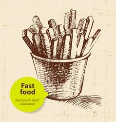 Vintage fast food background vector image