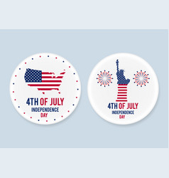 white steel patriotic pin badges set 4th of july vector image