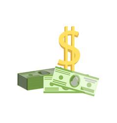 american dollar bills and golden dollar sign vector image