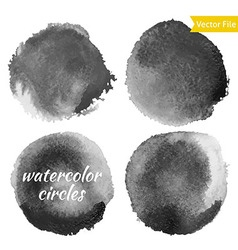 Dark Grey Watercolor Circles Set vector image vector image