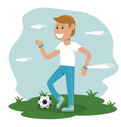 physical education - boy playing soccer sport vector image vector image