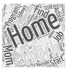 Work At Home Moms Word Cloud Concept vector image