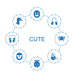 8 cute icons vector