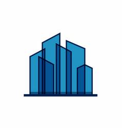 Abstract blue real estate logo design template vector