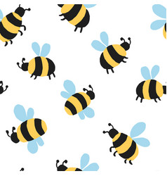 Allover seamless repeat pattern with big fat bees vector