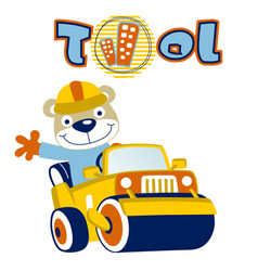 Animal worker drive a heavy tool construction vector