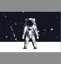astronaut with space background in black and vector image