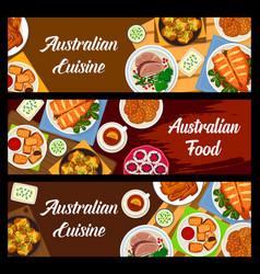 Australian food cartoon meals banners set vector